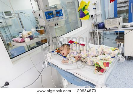 Baby In Clinic Bed Monitoring