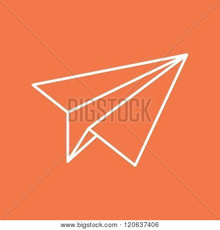 Paper plane navigational thin line icon sign. Paper origami airplane symbol. Vector icon of a papercraft plane in outline style with long shadow. EPS8 vector illustration.