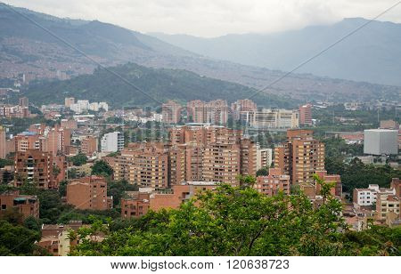 Amazing panorama of modern South American city Medellin Colombia - second largest city in Colombia poster