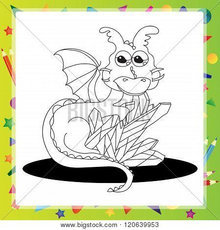 Vector illustration of Cartoon dragon