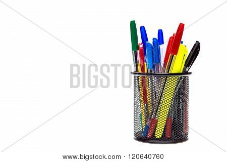 Pens and pencils in black box