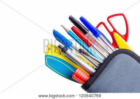 Pencil case with pens and pencils on a white background