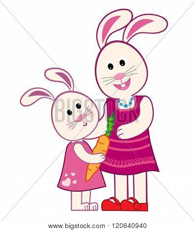 Mother Bunny and Daughter