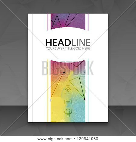 Business brochure report design template. Vector flyer layout, colorful watercolor polygonal triangl