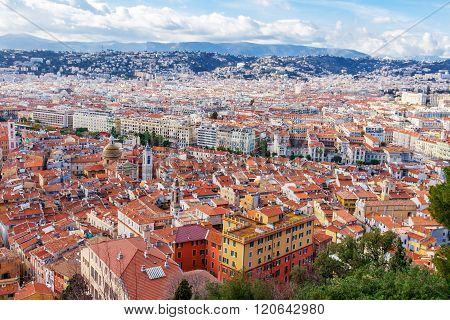 View Of Old Center Of Nice. Cote D'azur, French Riviera.