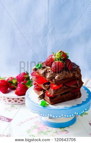 Waffle With Nutella And Strawberry