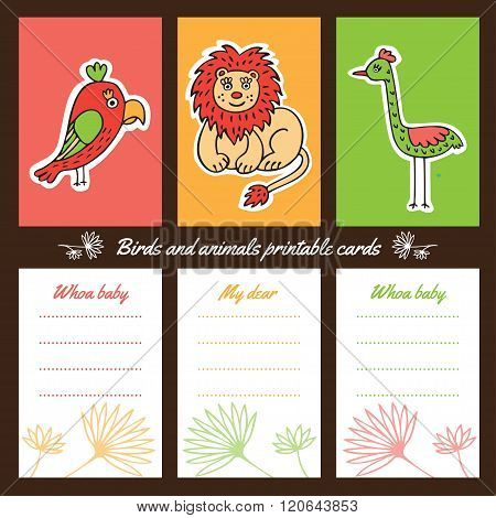Birds and animals printable cards