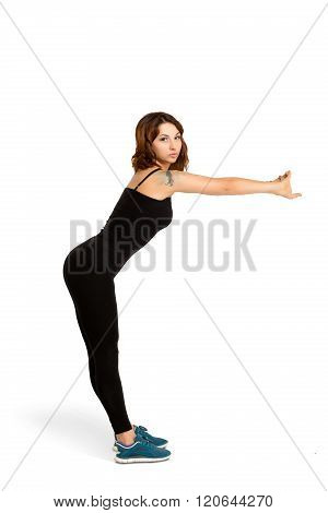 Young woman doing stretching training isolated