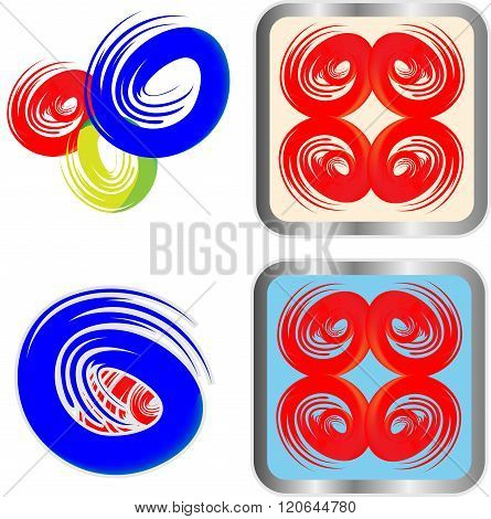 Circular Icon Symbol Logo Element set  vector, grouped for easy editing. No open shapes or paths.