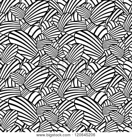 Heart stripes seamless background. Vector pattern