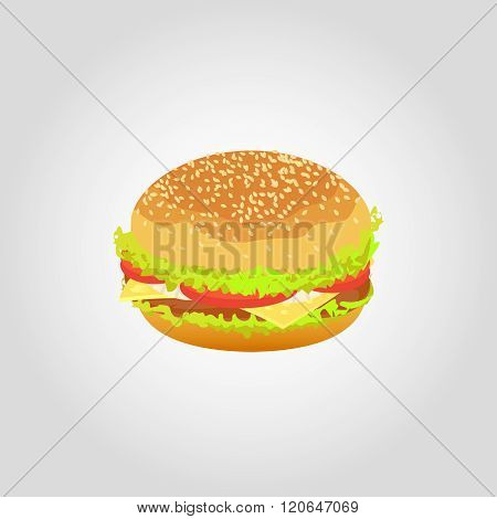 Hamburger isolated on white background. Vector illustration.