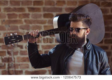 Stylish Bearded Musician