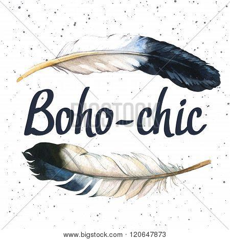 Illustration with boho-chic label. Boho style.