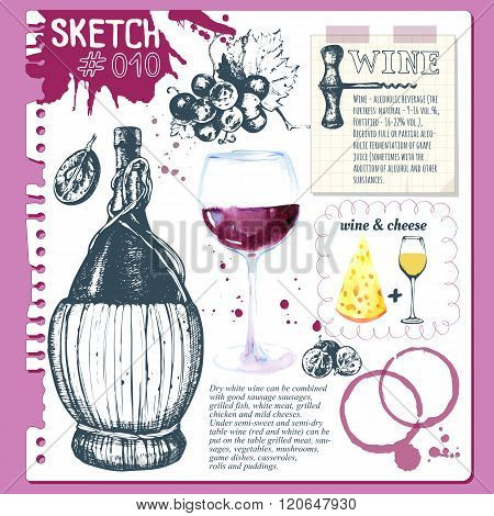 Sketchbook with winemaking products in sketch style.