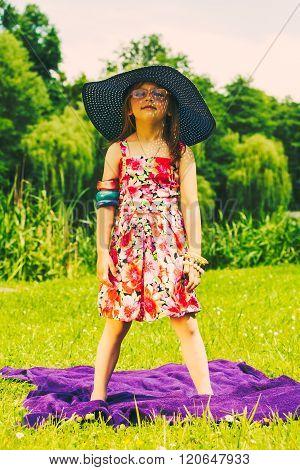 Little Girl Child On Picnic. Summer Leisure.