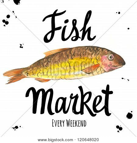 Illustration with watercolor ide. Fish Market.