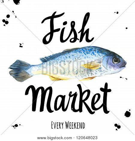 Illustration with watercolor dorado. Fish Market.