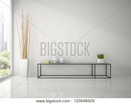 Interior of modern white room with console sofa 3D rendering