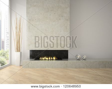 Interior of modern  design loft  with fireplace 3D rendering