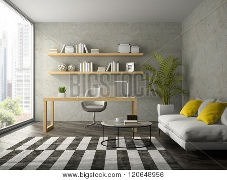 Interior of modern  design office with white sofa 3D rendering