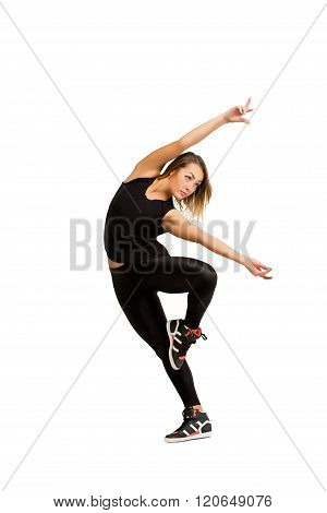 Woman dancer jumping isolated at white