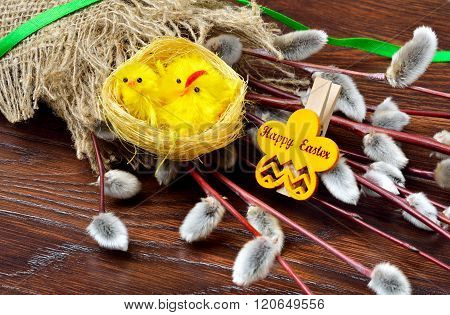 Pussy Willow In Sackcloth  And Easter Decoration.