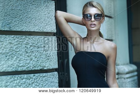 Fashionable Blonde Lady Posing.