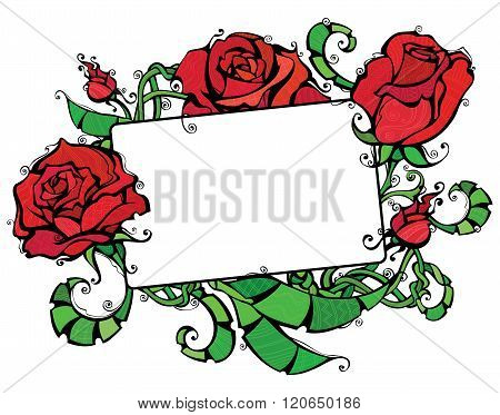 Blank Tablet With Roses.