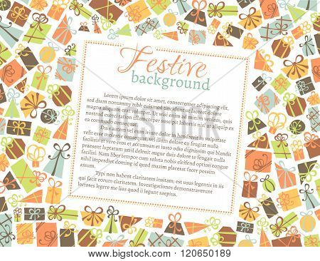 Vector Background Of Gift Boxes.