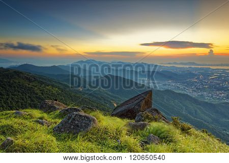 Sunset over new territories in hong kong as viewed atop Tai Mo Shan