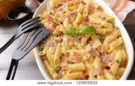 Penne Pasta Casserole With Cheese, Ham And Corn