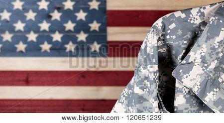 Military Uniform With Faded Boards Painted In American Usa Flag Colors In Background