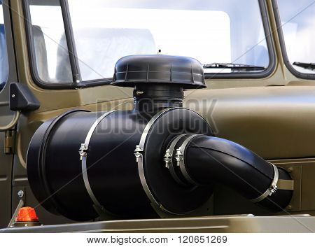 MOSCOW  - AUGUST 30 2013: Air intake with inhaler on the right wing of the heavy military vehicle - on August 30, 2013 in Moscow