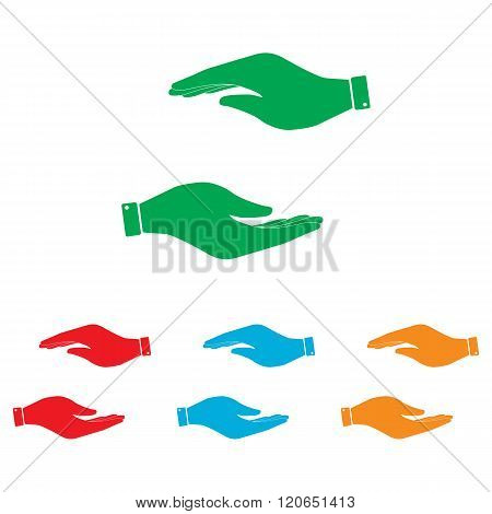 Hand sign. Colorfull set