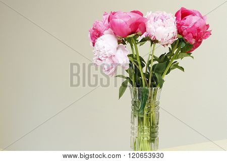 Vase Of Pink And Red Peony Flowers