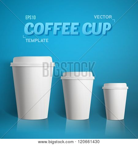 Vector Coffee Cup Set. Photorealistic 3D Vector EPS10 Paper Coff