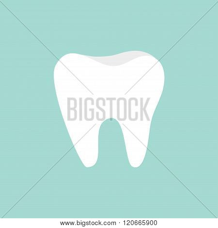 Tooth Icon. Healthy Tooth. Oral Dental Hygiene.  Children Teeth Care. Tooth Health. Blue Background.