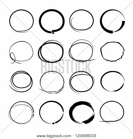 set of 16 hand drawn ovals, sketch circles