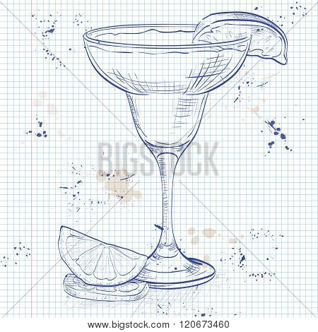 Yellow Bird cocktail on a notebook page