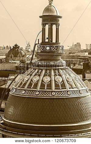 Sepia Aerial View From The Terrace Of Store Printemps, Paris