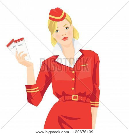 Stewardess holding ticket in her hand.