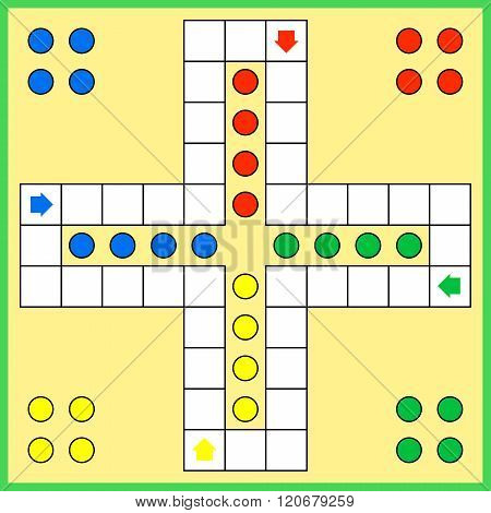 Ludo board desktop game template vector illustration
