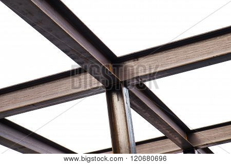 I-Beam steel construction, isolated on white background