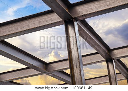 I-Beam steel construction, on beautiful sky