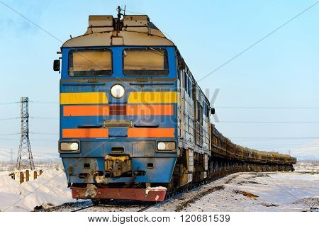 Freight Train In The Far North. Norilsk.
