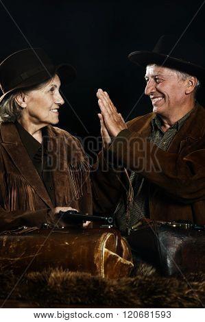 Two smiling hunter