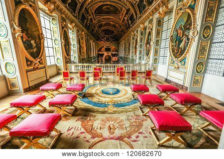 VERSAILLES, FRANCE - May 26, 2014: Chateau de Versailles palacenear Paris. Palace Versailles was a royal chateau. It was added to UNESCO list of World Heritage Sites