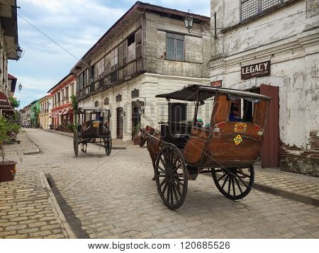 A Kalesa (or Horse Carriage) In Historic Town Of Vigan.