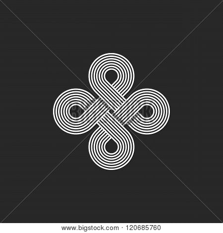 Monogram Infinity Logo, Geometric Linear Loop Design Element, Parallel Thin Line Infinite Art Decora