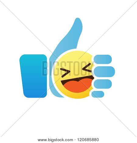 Thumb up emoticon, like icon with smiley emoji
